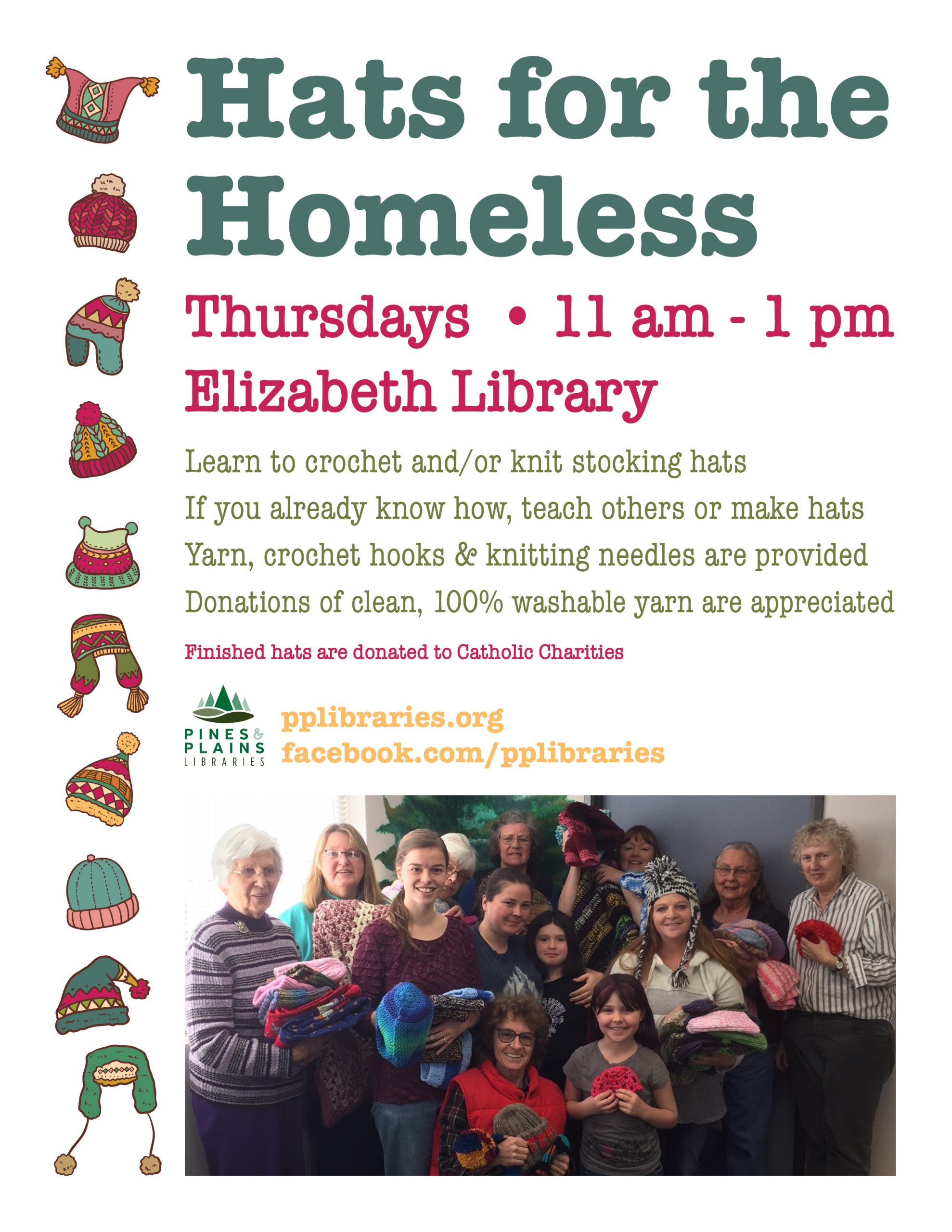 Hats for the Homeless flyer with picture of participants