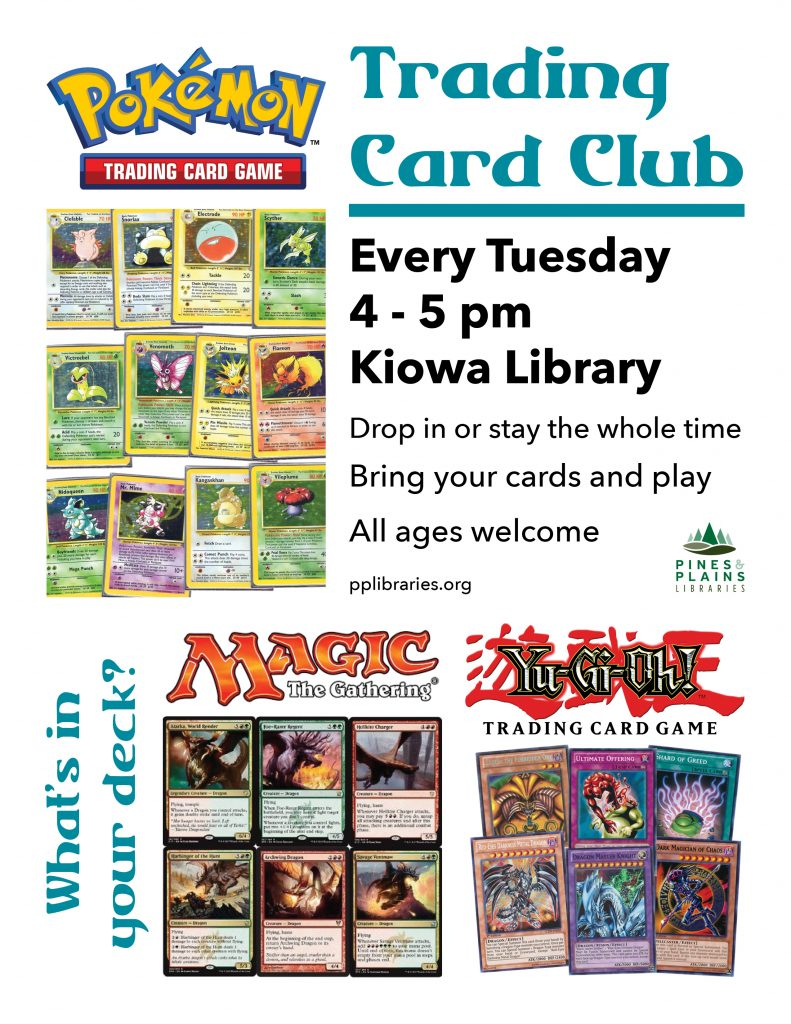 flyer for trading card club with Pokemon, Magic the Gathering and You-Gi-Oh! logos