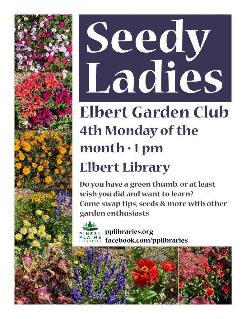 Seedy Ladies flyer with images of flowers