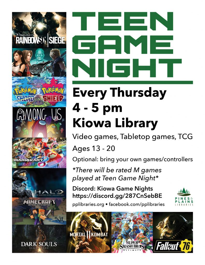 Teen Game Night flyer with images of many popular video games