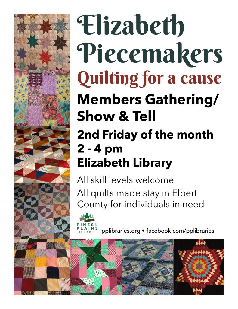 Elizabeth Piecemakers flyer with images of quilts