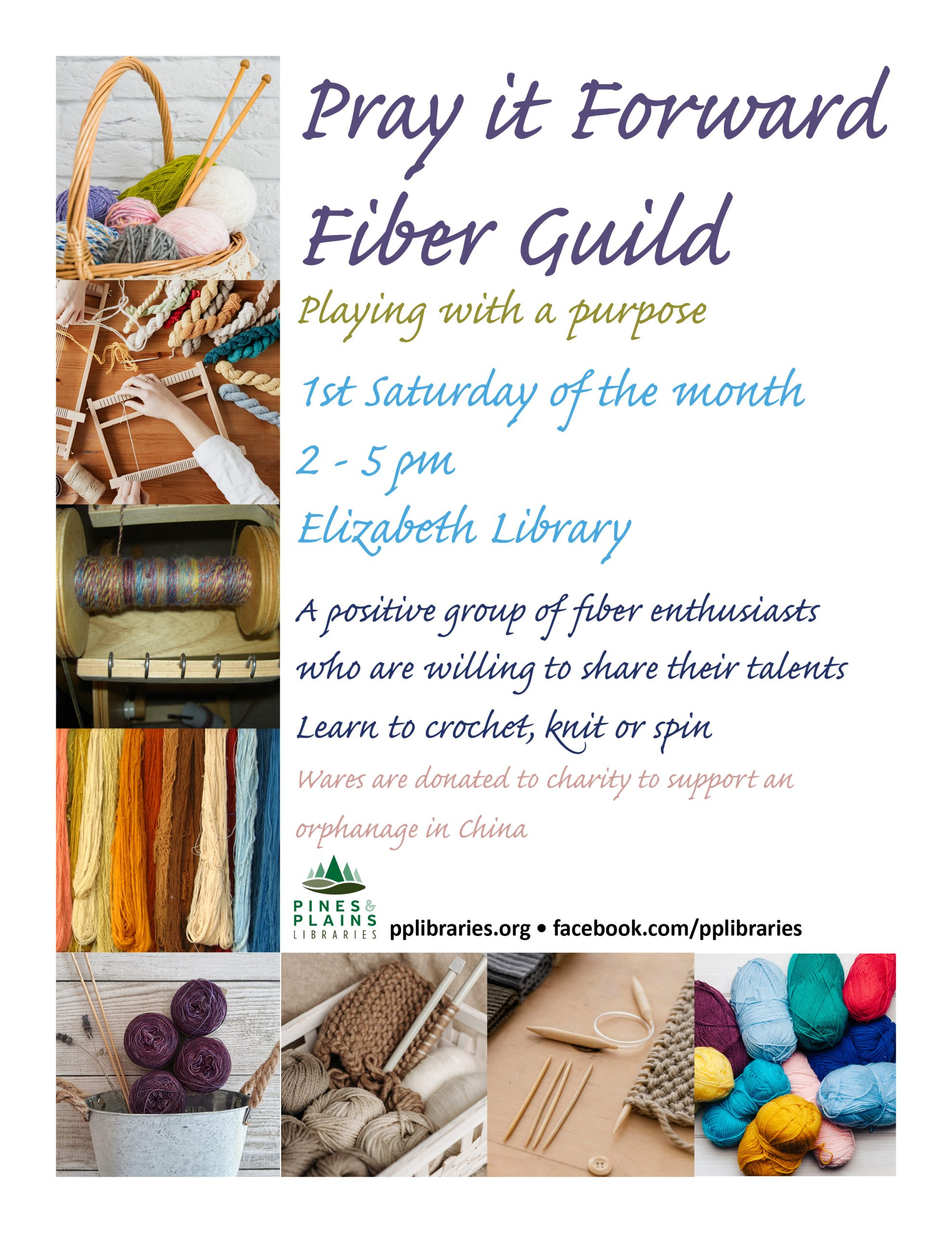 Pray it Forward Fiber Guild flyer with yarn and fiber craft images
