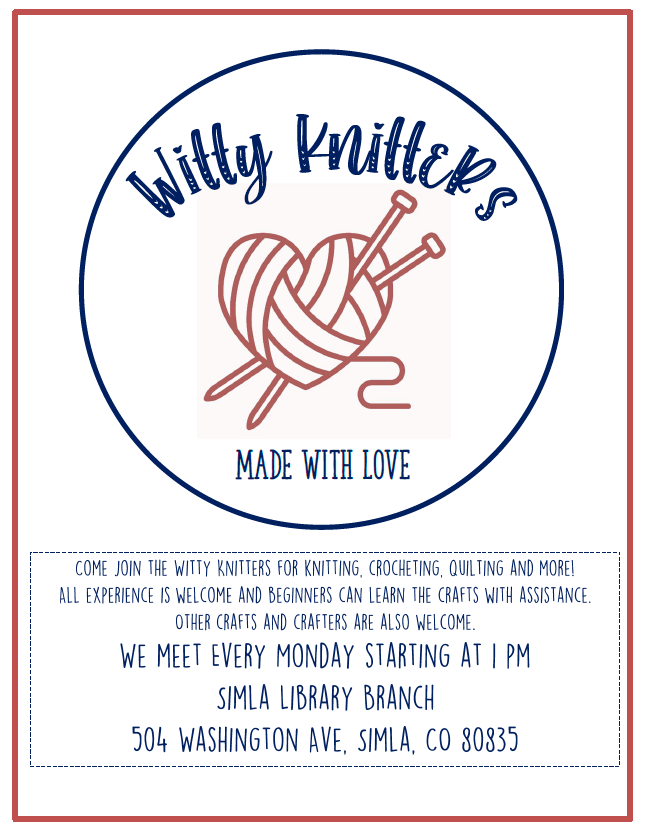 Witty Knitters flyer with image of heart ball of yarn and knitting needles